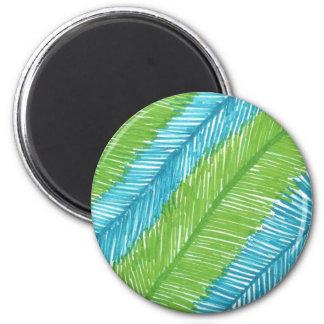 Imã Teste padrão verde e azul das folhas de palmeira