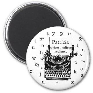 Imã TEXTO editável retro tirado da máquina de escrever