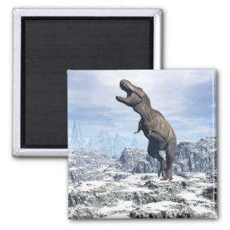 Imã Tiranossauro na neve - 3D rendem