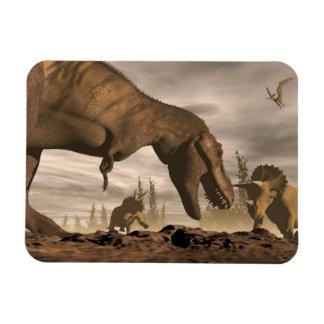 Ímã Tiranossauro que ruje no triceratops - 3D rendem