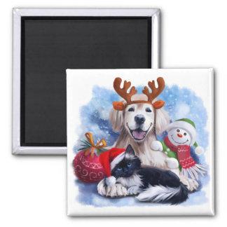 Imã Um cão, um gato e um boneco de neve