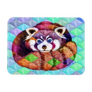 Ímã Urso de panda vermelha no cubism de turquesa