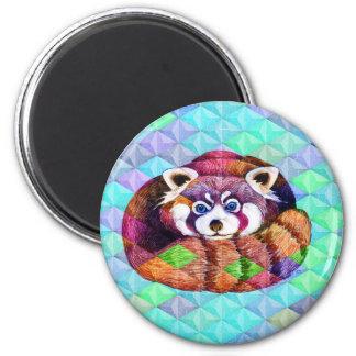 Imã Urso de panda vermelha no cubism de turquesa