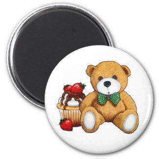 Imã Urso de ursinho, cupcake, morangos, arte original