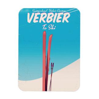 Ímã Verbier, cartaz do viagem do esqui do vintage da