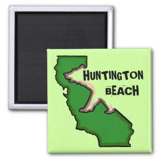 Ímã verde do estado de Huntington Beach Califórnia Ímã Quadrado