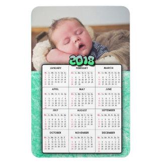 Ímã verde do refrigerador do calendário da foto