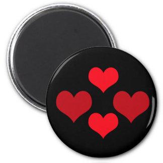 Ímã vermelho de quatro corações imã de geladeira