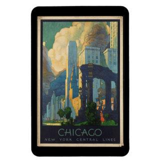 Ímã Viagens vintage Chicago às linhas centrais de New