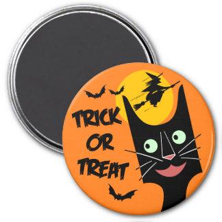 Imã Vintage o Dia das Bruxas - gato preto da doçura ou