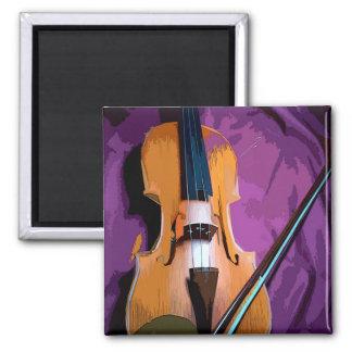 Imã Violino elegante na seda roxa, ímã quadrado