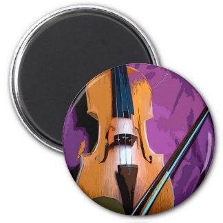 Imã Violino elegante na seda roxa, ímã redondo