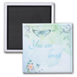 """Imã """"Você é"""" borboleta azul amada"""