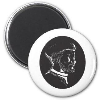 Imã Woodcut francês do Oval do explorador de Jacques