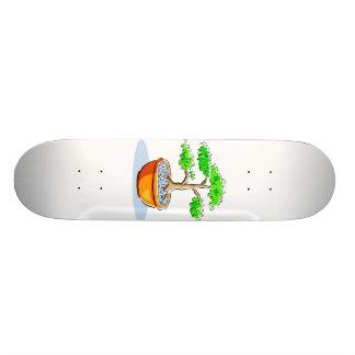 Imagem alaranjada do gráfico da bacia dos bonsais  shape de skate 19,7cm