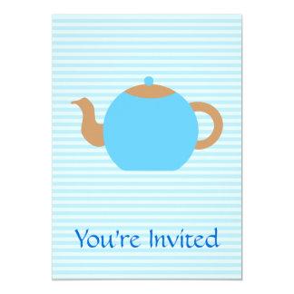 Imagem azul do bule em listras azuis convites personalizado