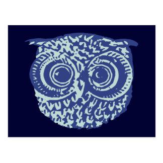 Imagem bonito azul da coruja cartão postal