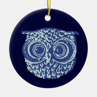 Imagem bonito azul da coruja ornamento de cerâmica redondo