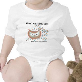 Imagem bonito da coruja da camisa do bebé em Brown Macacões