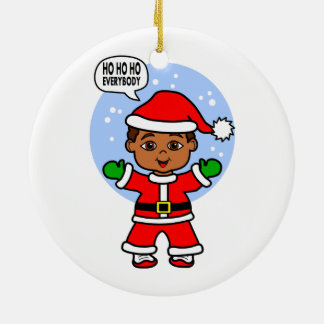 Imagem bonito da criança de Papai Noel dos Ornamento De Cerâmica Redondo