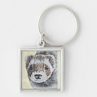 Imagem bonito da doninha chaveiro quadrado na cor prata