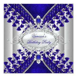 Imagem branca do grânulo do diamante dos azuis convite personalizados