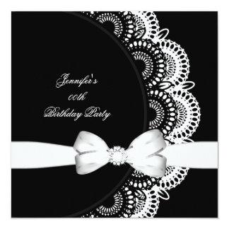 Imagem branca preta do diamante da festa de convite quadrado 13.35 x 13.35cm