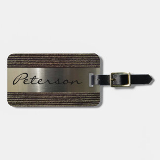 Imagem cinzenta do veludo de algodão e do aço dos etiqueta de bagagem