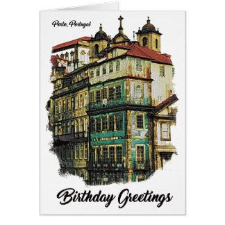 Imagem colorida cartão de aniversário de Porto,