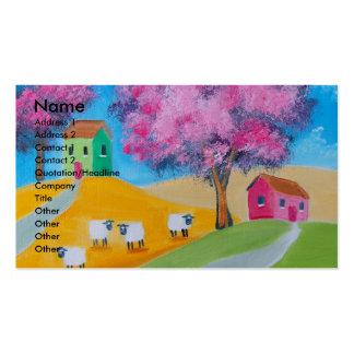 Imagem colorida da arte popular dos carneiros cartão de visita