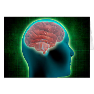 Imagem conceptual do corpo fêmea com cérebro 2 cartão