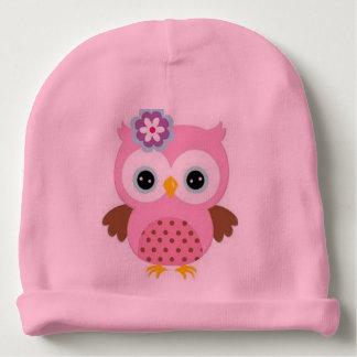 Imagem cor-de-rosa bonita da coruja do Beanie do Gorro Para Bebê