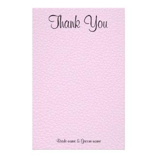 Imagem cor-de-rosa do couro, obrigado Wedding você Papelaria Personalizada