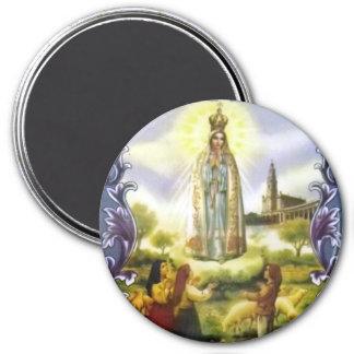 Imagem da aparição nossa senhora de Fatima Ímã Redondo 7.62cm