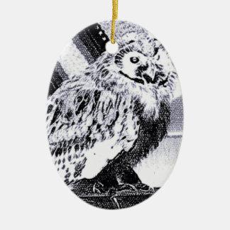Imagem da coruja ornamento de cerâmica oval