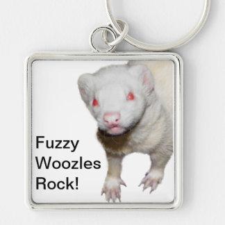 Imagem da doninha do albino chaveiro quadrado na cor prata