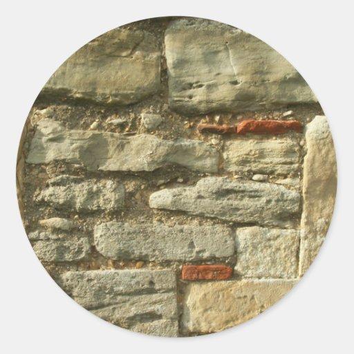 Imagem da parede de pedra adesivos em formato redondos