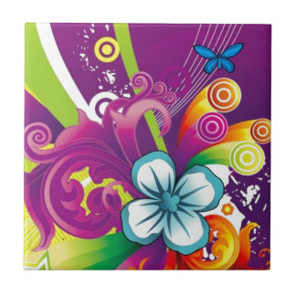 imagem de flor e borboleta azulejos