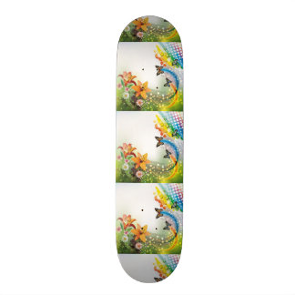 imagem de flores e borboletas skate