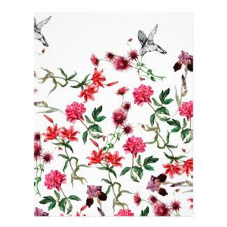 imagem de flores e passaros flyer 21.59 x 27.94cm