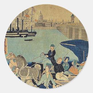 Imagem de Londres, Inglaterra por Utagawa, Adesivos Redondos