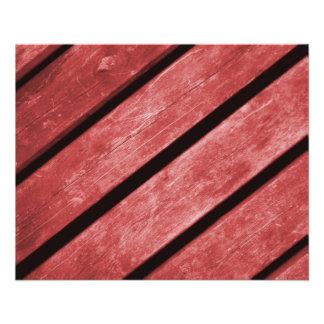 Imagem de pranchas vermelhas da madeira flyer 11.43 x 14.22cm