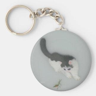 Imagem de seda chinesa do gato chaveiro