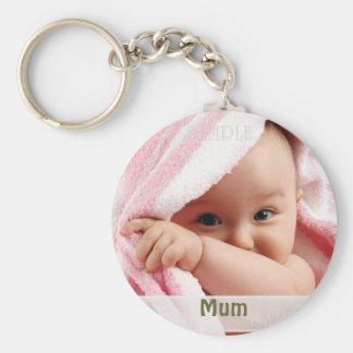 Imagem do bebê para a mãe, presente do anel chave chaveiro