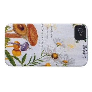 imagem do cogumelo do jardim do vintage do capa de capas para iPhone 4 Case-Mate
