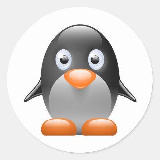imagem do linux do tux do pinguim adesivo em formato redondo