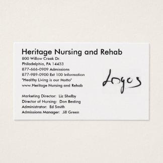 Imagem do logotipo, cuidados da herança e cartão de visitas