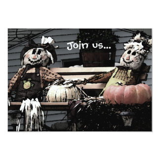 Imagem do outono das abóboras dos espantalhos convite 12.7 x 17.78cm