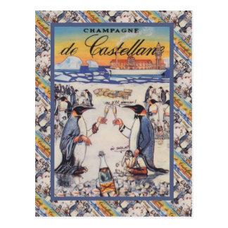 Imagem do vintage, Champagne de Castellane Cartão Postal