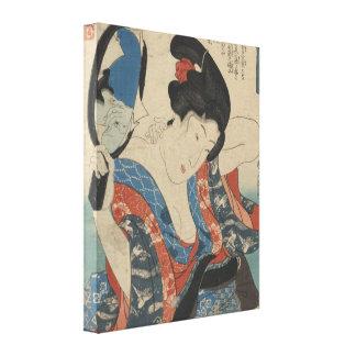 Imagem do vintage do espelho de mão japonês da sen impressão de canvas envolvida